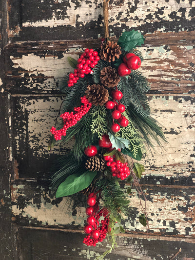 Red berry & mixed pine Christmas swag, holiday swag, silk flower wreath making supply, farmhouse decor, christmas decor, holiday decor