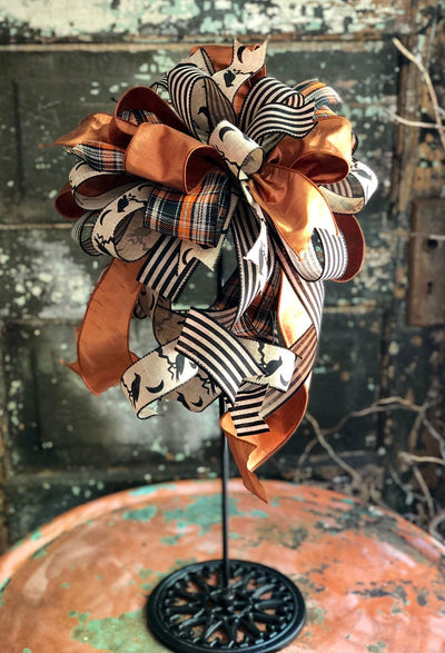 The Raven Orange Black & Tan Halloween Bow For Wreaths~bow for lantern~Fall bow for wreath~Autumn Bow~Crow Bow~large plaid bow~farmhouse bow