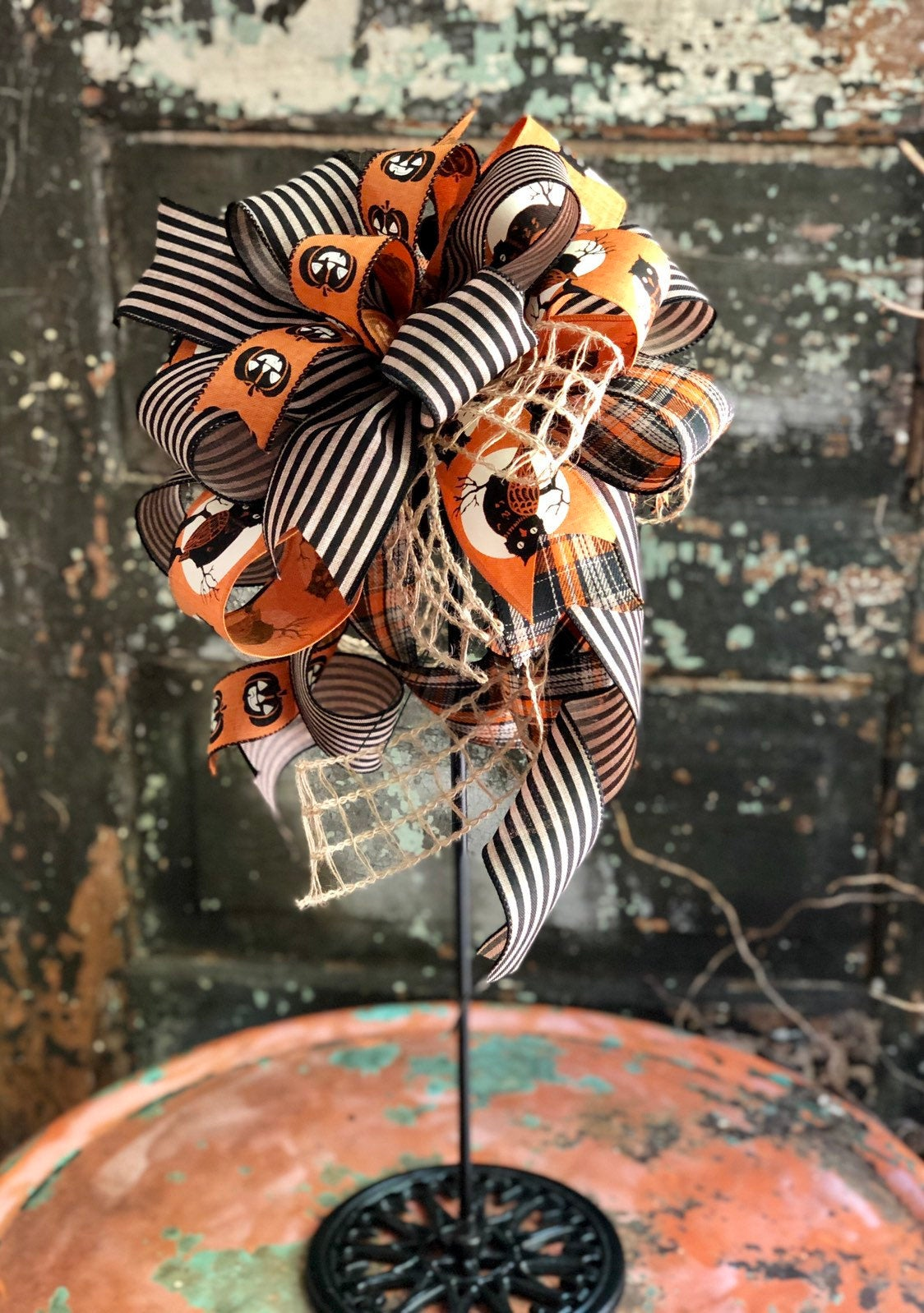 The Harry Orange & Black Halloween Bow for wreaths~autumn~lantern bow~fall farmhouse bow~halloween decor~Mailbox bow~swag bow~spooky bow