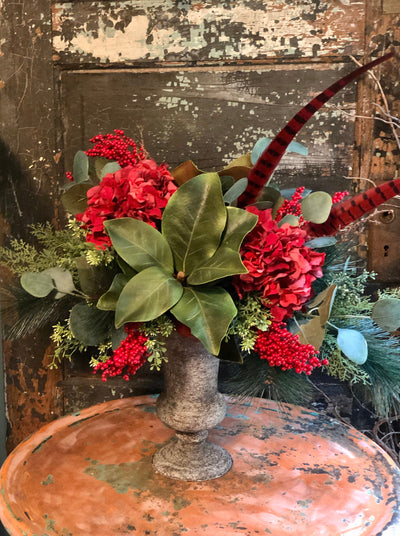 The Evangeline Christmas Centerpiece For Dining Table~Magnolia winter pine arrangement~Red hydrangea berry arrangement for kitchen table
