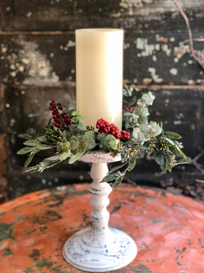 The Lilith Christmas Candle Ring~Pine berry & eucalyptus candle ring~winter candle ring~mini christmas wreath~farmhouse Christmas decor