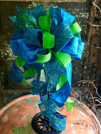 The Esmerelda Blue & Green Peacock Bow For Wreaths~Christmas Tree topper bow~Bow for lantern~swag bow~large Xmas Bow~ribbon topper