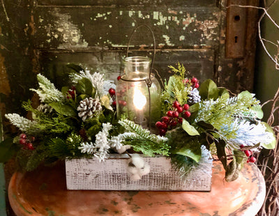 The Juniper Snowy Pine Farmhouse Christmas Centerpiece For Table~Rustic Cabin centerpiece~winter arrangement for dining table~kitchen floral