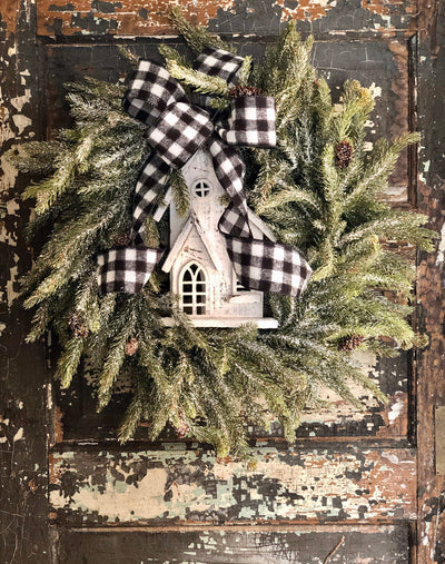The Marie Winter Woodland Iced Winter Wreath For Front Door~Snowy Church Wreath~Rustic Farmhouse wreath~Cabin decor~Xmas Wreath