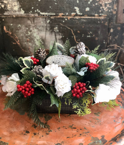 The Laurel Pine & Berry Christmas Centerpiece For Dining Table~Winter centerpiece for kitchen table~red and white christmas arrangement