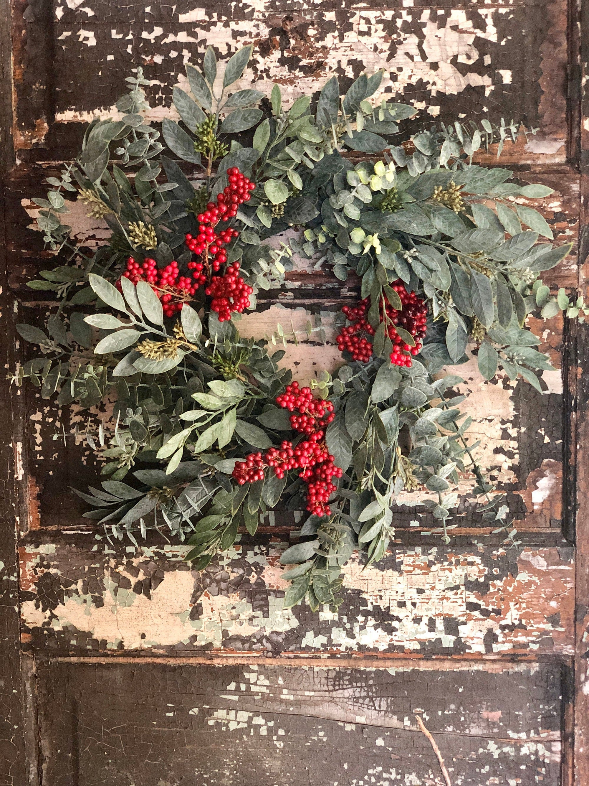 The Lillian Eucalyptus & Berry Christmas Wreath For Front Door~Winter berry wreath~Year round wreath for door~Farmhouse wreath for door