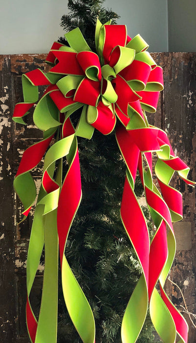 The Marilee Red & Green Velvet Christmas Tree Topper Bow~XL Christmas bow for tree~ribbon topper~Long streamer bow for wreaths~Lime green
