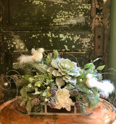 The Elsa Icy Woodland Christmas Centerpiece For Table~Snowy pine sleigh arrangement~White & silver Xmas Centerpiece for table~Snow bird