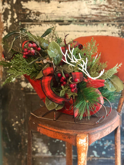The Ana Woodland Christmas Centerpiece For Table~iced pine sleigh arrangement~Reindeer Xmas Centerpiece for table~red black buffalo check