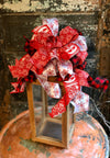 The Joy Red & White Christmas Tree Topper Bow~Farmhouse bow for wreaths~Buffalo check bow for lantern~Snowflake bow~xmas bow~large Bow