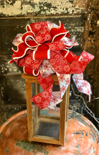The Blair Red & White Christmas Bow For Wreaths~Snowflake bow for lantern~Xmas Bow~Package bow~mailbox bow~tree topper bow~holiday bow~swag