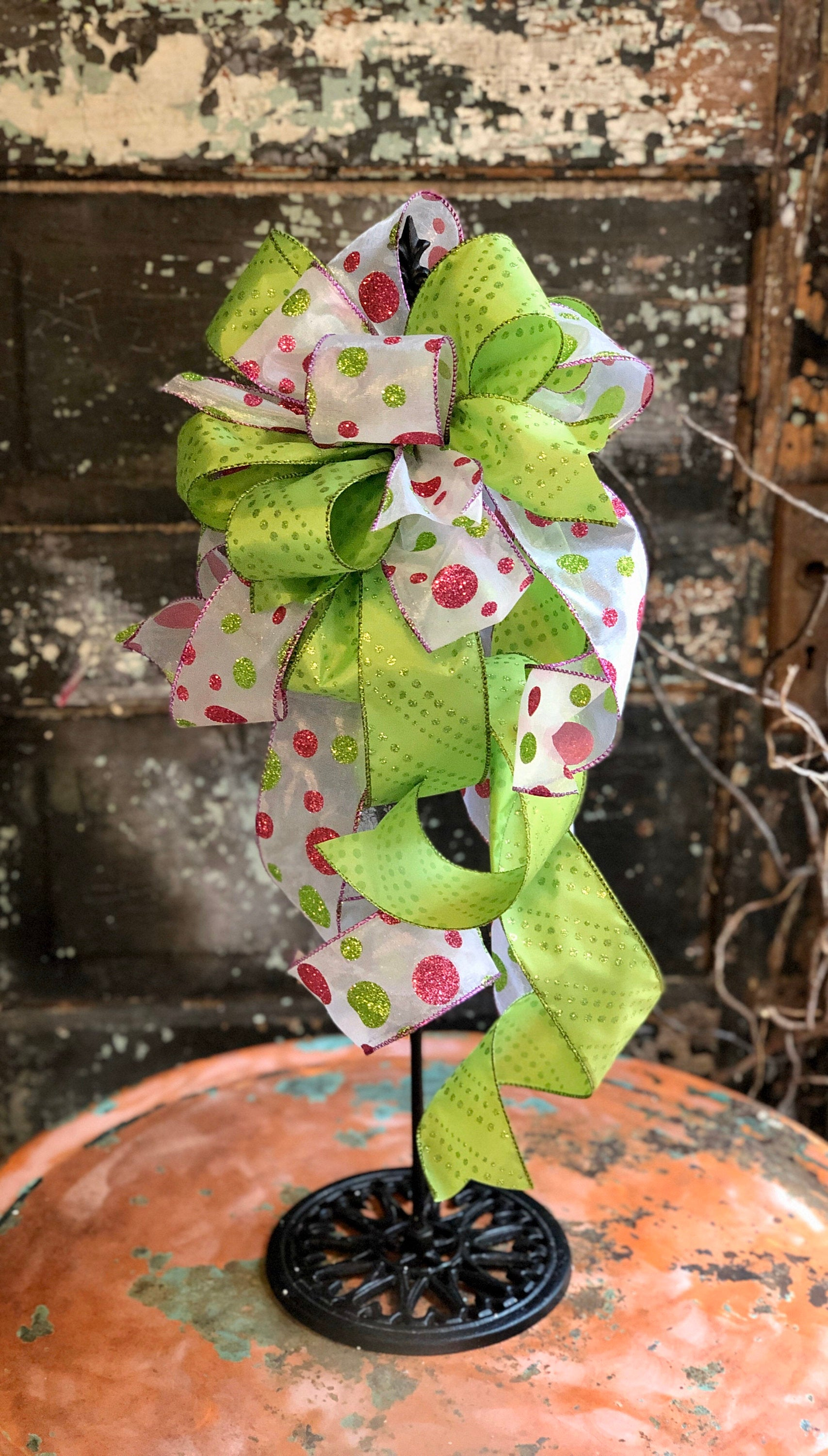 The Cindy Lou Hoo Christmas Tree Topper Bow, pink & lime green polka dot bow for wreaths, lantern bow, holiday bow