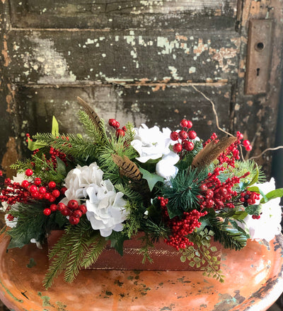 The Kelley Red & White Christmas Centerpiece For Dining Table~Rustic farmhouse kitchen table arrangement~silk flowers centerpiece~cabin deco