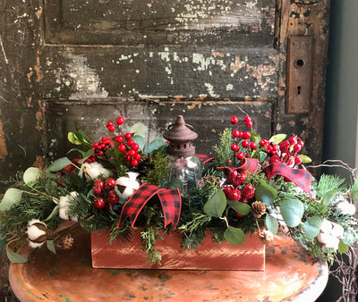 The Elysium Red & White Christmas Centerpiece For Dining Table~Rustic farmhouse kitchen table arrangement~silk flower centerpiece~Cabin deco