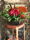 The Gloria Red Hydrangea & Pine Winter Centerpiece For Table~Christmas arrangement for kitchen~Silk flower rustic centerpiece~Farmhouse deco