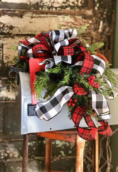 The Jane Red & Black Buffalo Check Christmas Mailbox Swag~Pine mantle piece~Winter Swag for mantle~Long Flat pine centerpiece for table