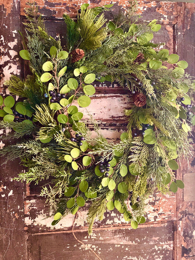 The Juniper Mixed Pine Christmas Wreath For Front Door~Winter wreaths~All season wreath~farmhouse wreath~cabin wreath~Christmas door wreath