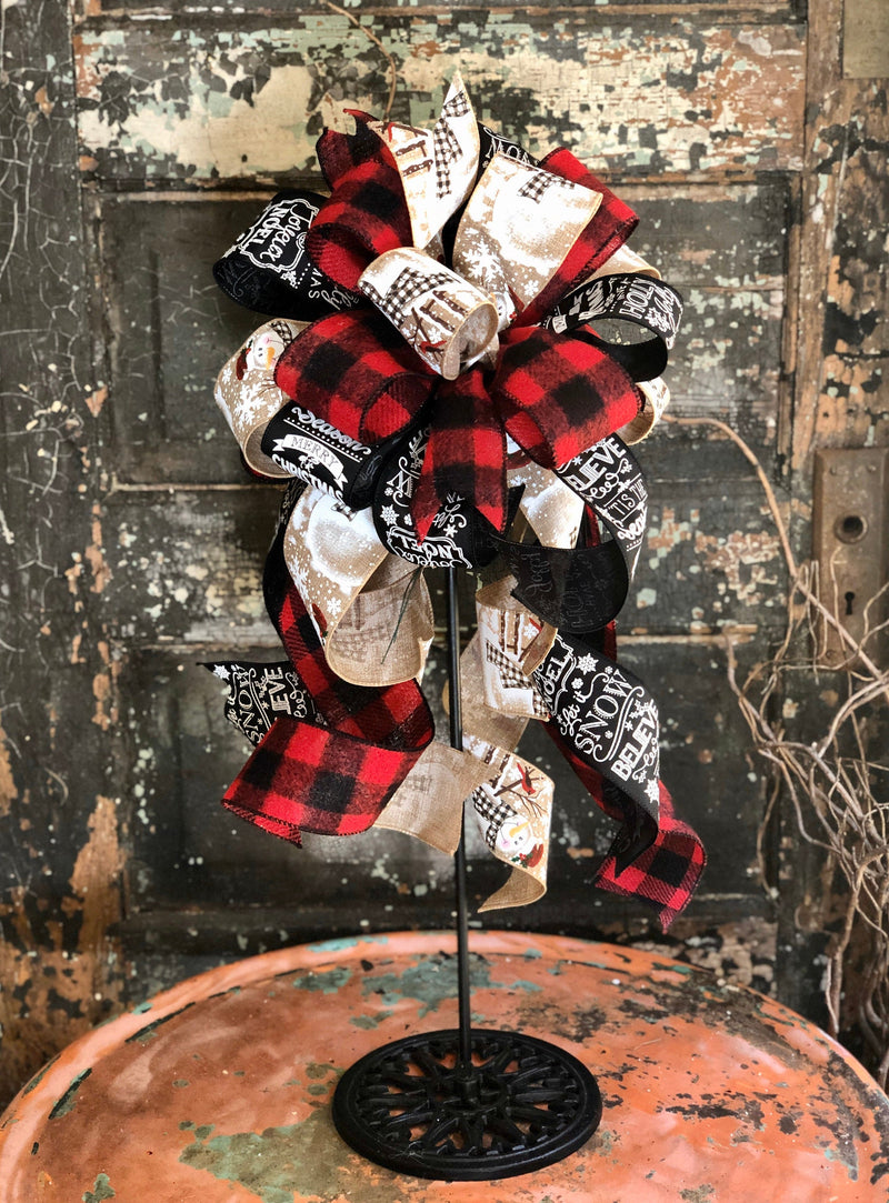 The Grace Red Black & Tan Buffalo Check Christmas Bow, bow for lantern, bow for wreaths, long streamer bow for mailbox, christmas decor