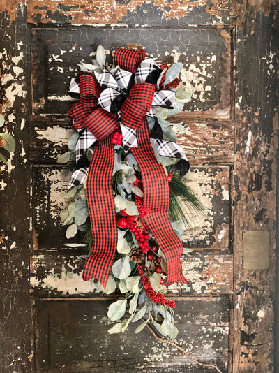 The Veronica Red & Black Buffalo Check Pine Door Swag, Christmas swag for front door, mantle swag, mailbox decoration, farmhouse winter swag