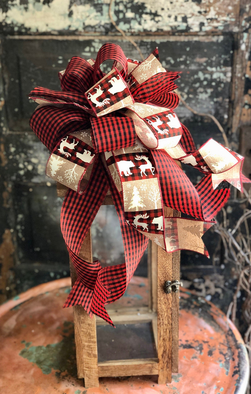 The Hannah Red & Black Check Christmas Bow For Wreaths, bow for lantern, mailbox decor, long streamer holiday bow, christmas decor, rustic