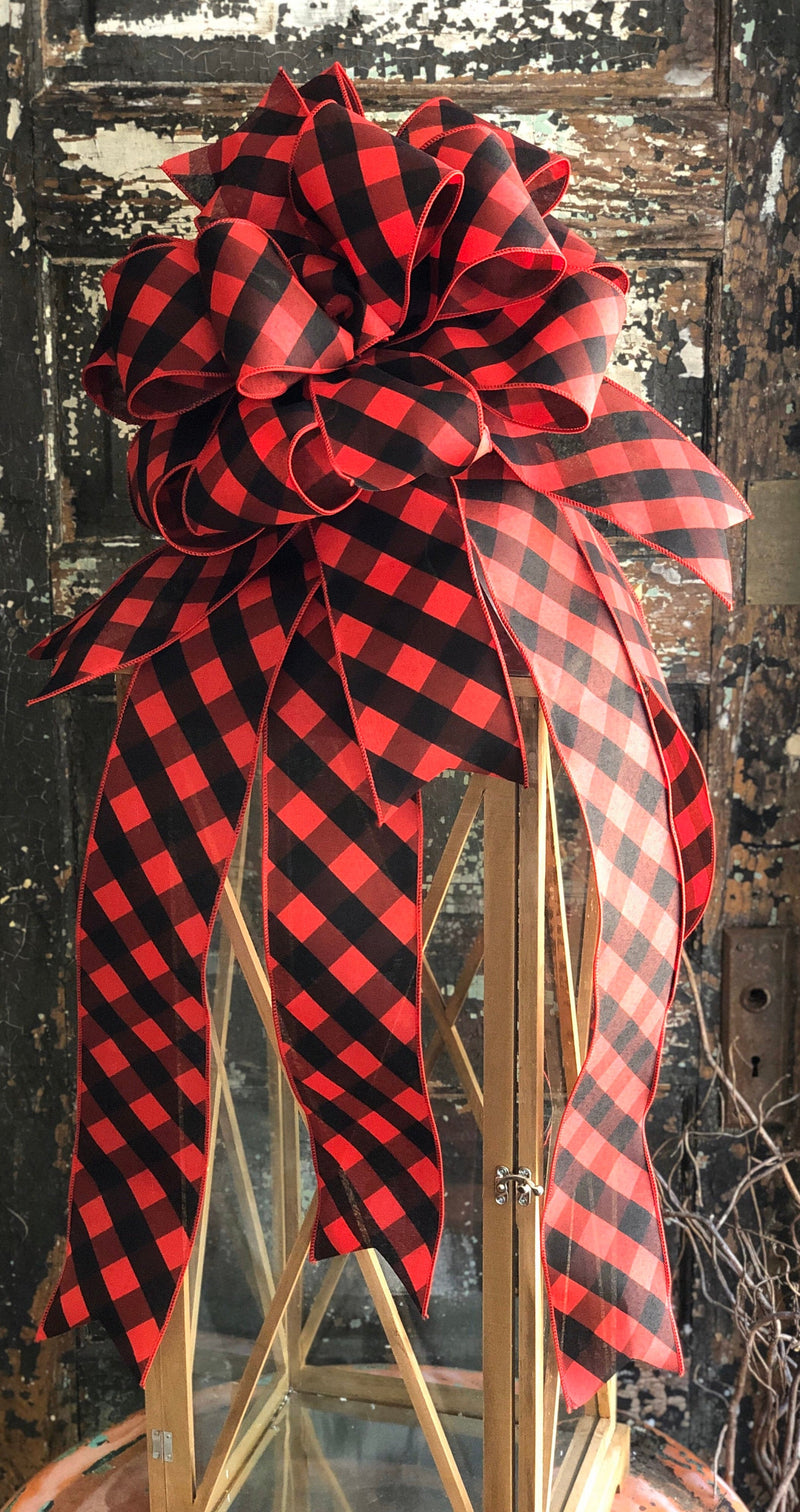 The Hope Buffalo Check Christmas Tree Topper Bow~Red & Black extra large bow for wreath~farmhouse Christmas tree bow~Rustic christmas decor