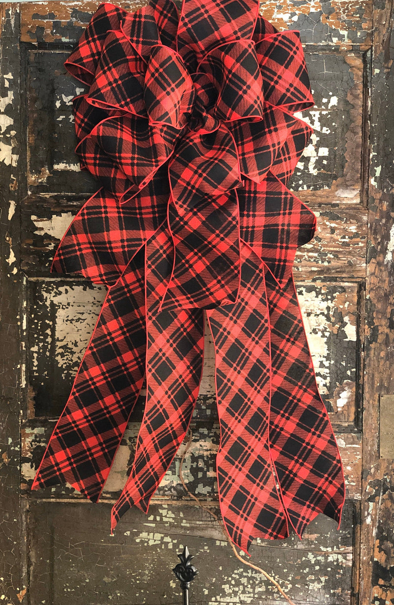 The Juliette Buffalo Plaid Christmas Tree Topper Bow~XL long streamer bow~farmhouse red & black tree topper bow~Rustic cabin christmas decor