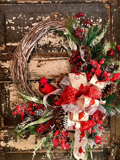 The Cardi Christmas Wreath For Front Door~Winter wreath~snowy iced pine wreath~farmhouse wreath~red & white cardinal wreath