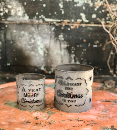 Set of 2 aged gray metal luminary candle holders, Farmhouse metal cutout containers, Rustic primitive votive candle holders, Christmas decor