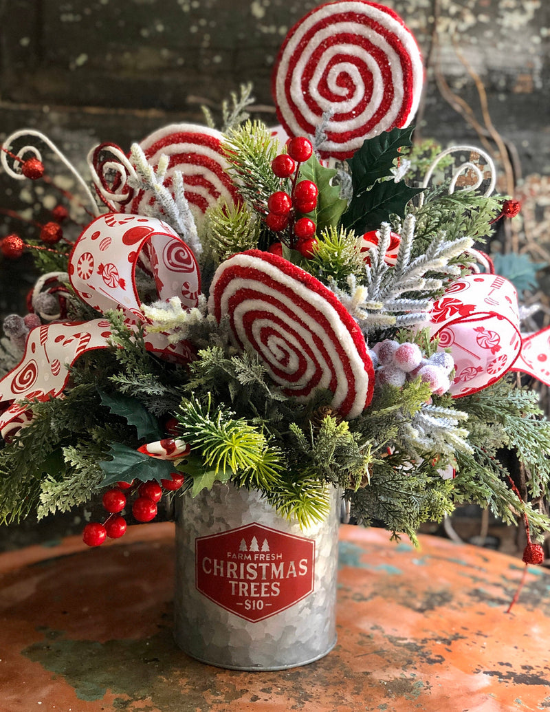The Lolli Peppermint Candy Christmas Centerpiece For Dining Table~Winter centerpiece for kitchen table~red and white christmas arrangement
