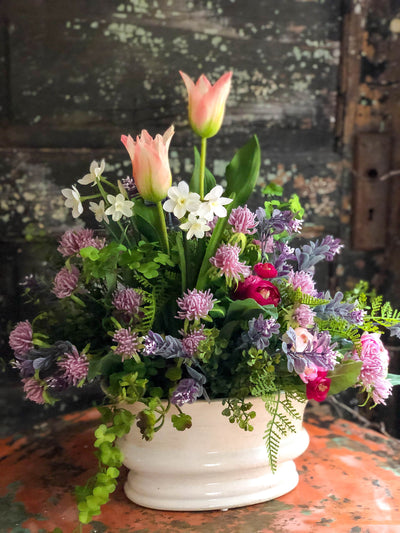 The Claudette French Country Spring Centerpiece For Dining Table, Cottage garden arrangement, Easter centerpiece, Tulip paper white pink