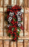 The Aria Red & Black Buffalo Check Magnolia Door Swag, Christmas swag for front door, mantle swag, mailbox decoration, farmhouse winter swag