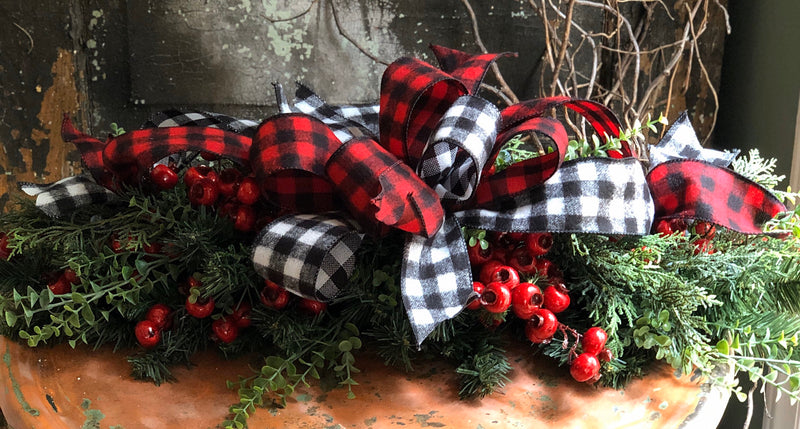 The Faith Red & Black Buffalo Check Christmas Mailbox Swag~Pine mantle piece~Winter Swag for mantle~Long Flat pine centerpiece for table