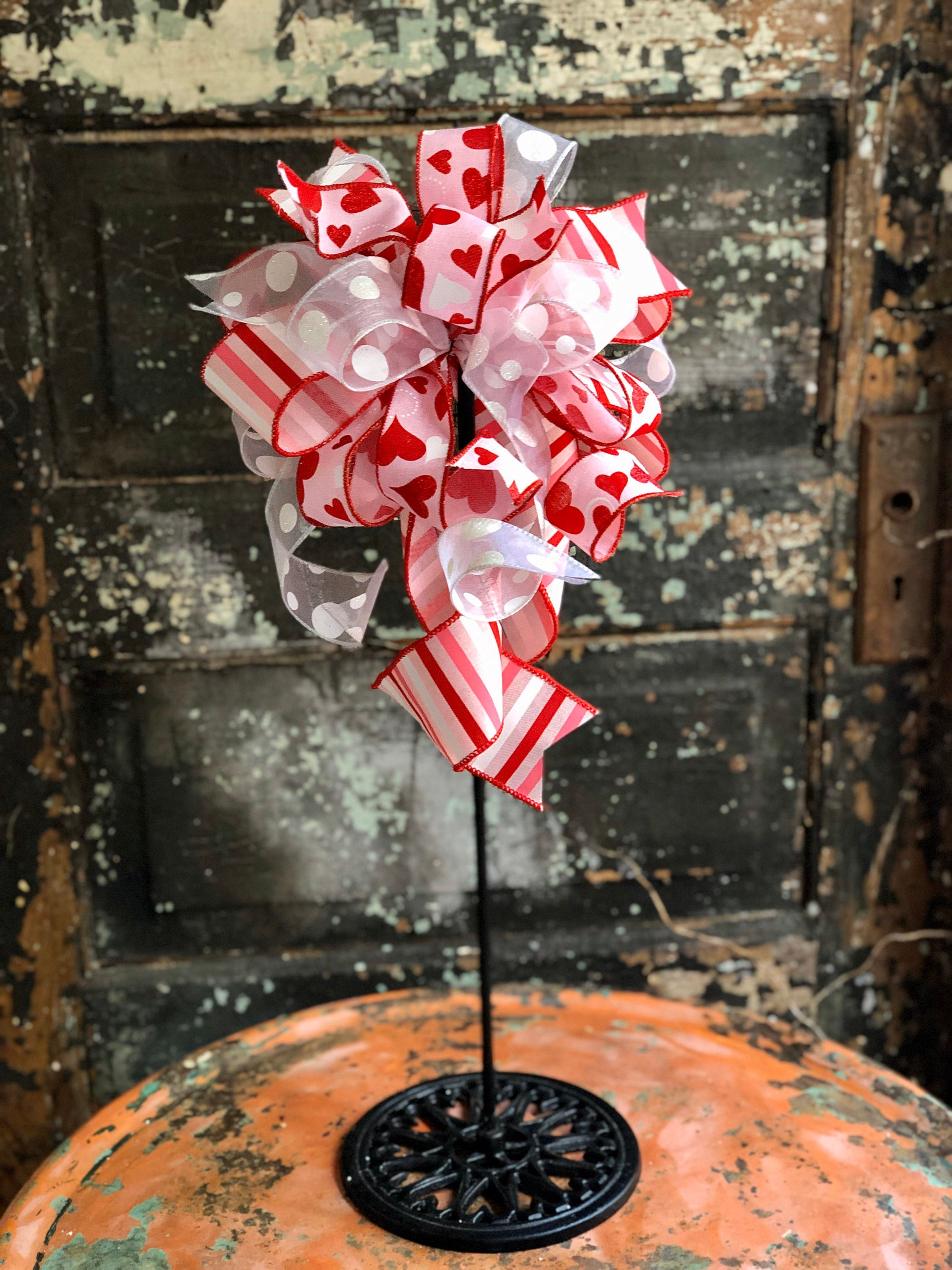 The Nadia Red White & Pink Stripe Valentines Day Bow, Bow for wreaths, polka dot Lantern Bow, Valentines decor, Mailbox Bow, heart bow