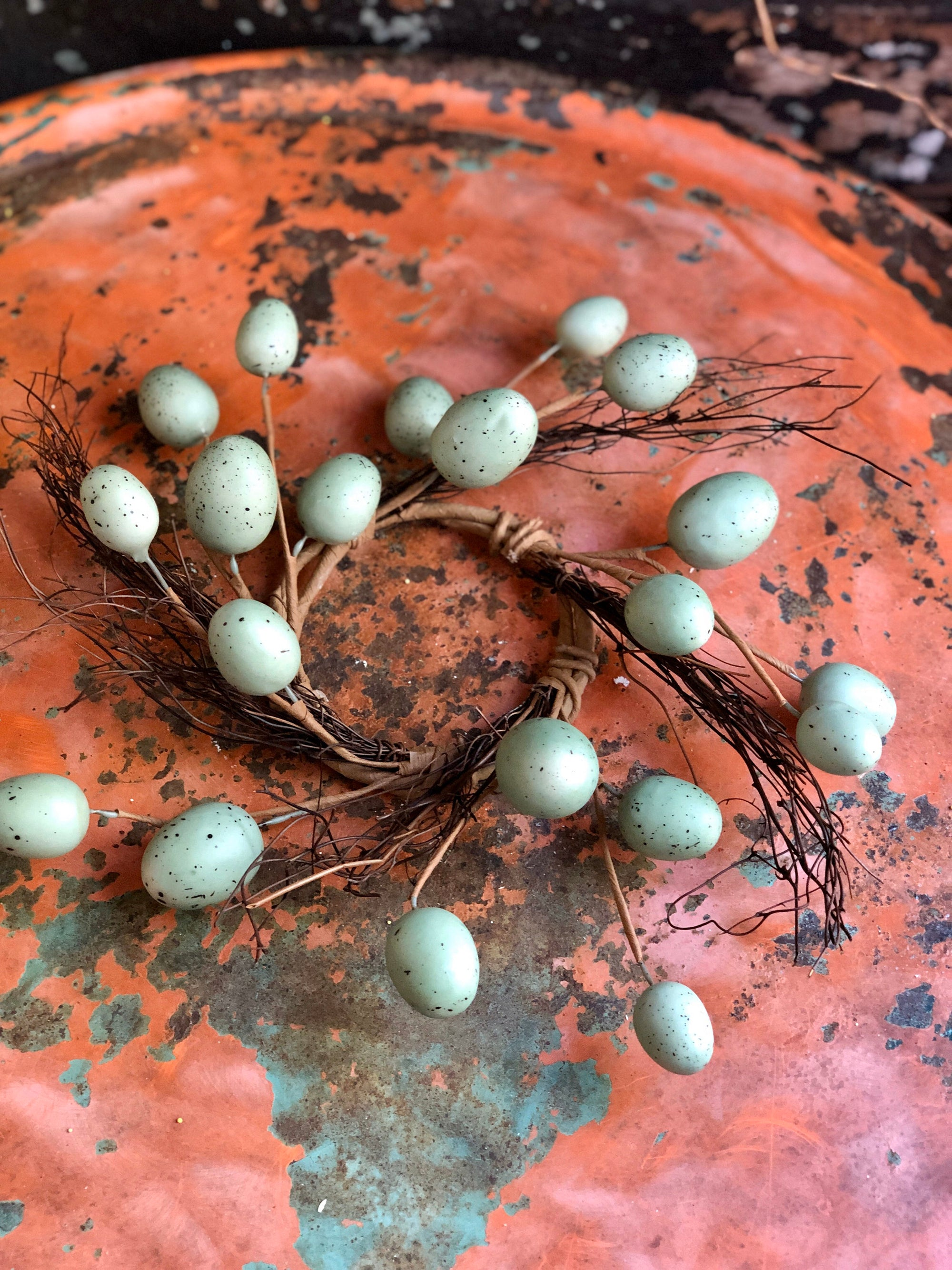 Robins Egg Candle Ring, Easter egg candle ring, easter decor, spring decor, mantle decor, home decor, primitive candle ring, cottage decor