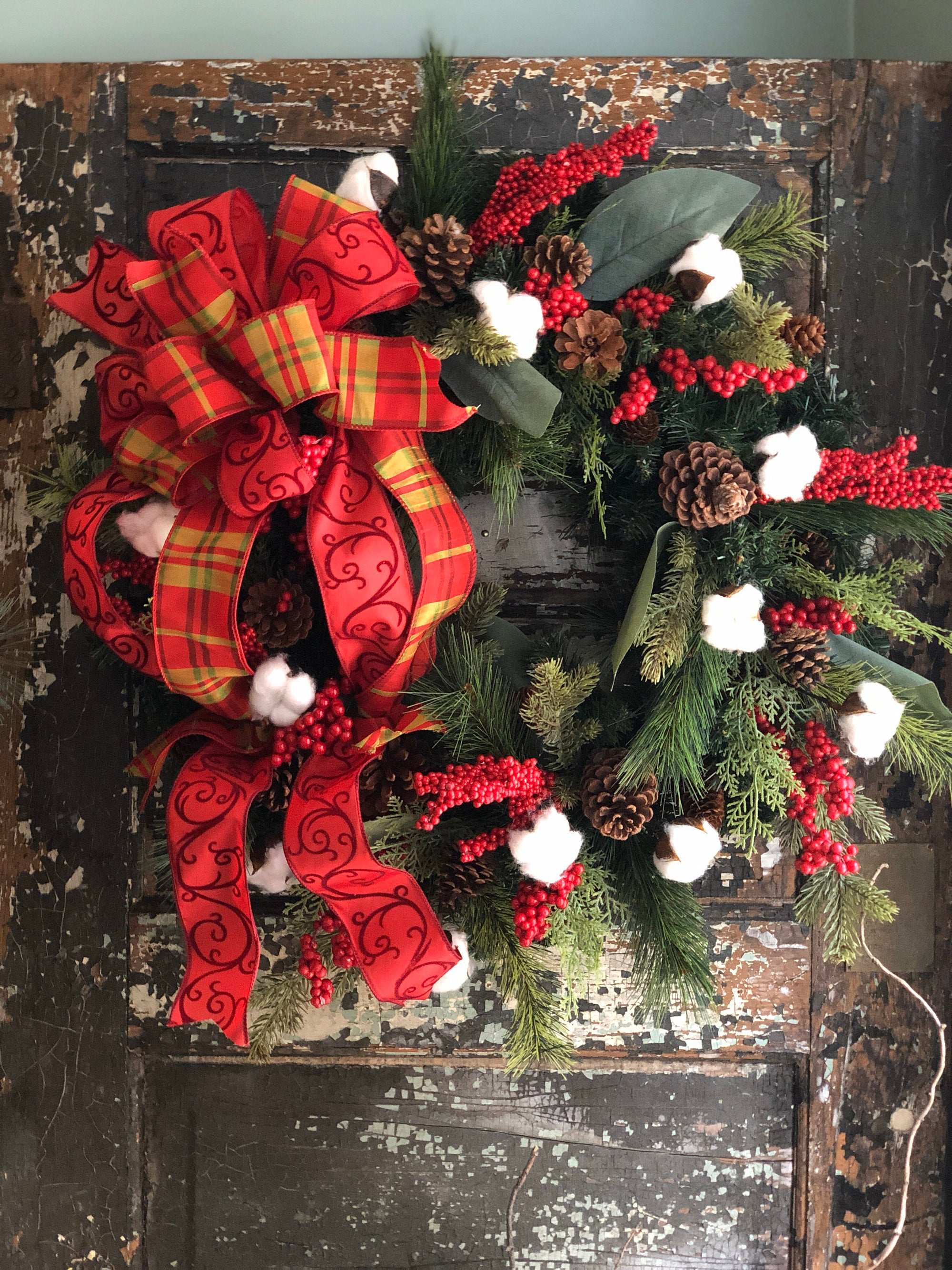 The Natalya Red Berry & Cotton Rustic Christmas Wreath For Front door, Farmhouse Christmas Wreath, Winter wreath, Cabin Holiday wreath