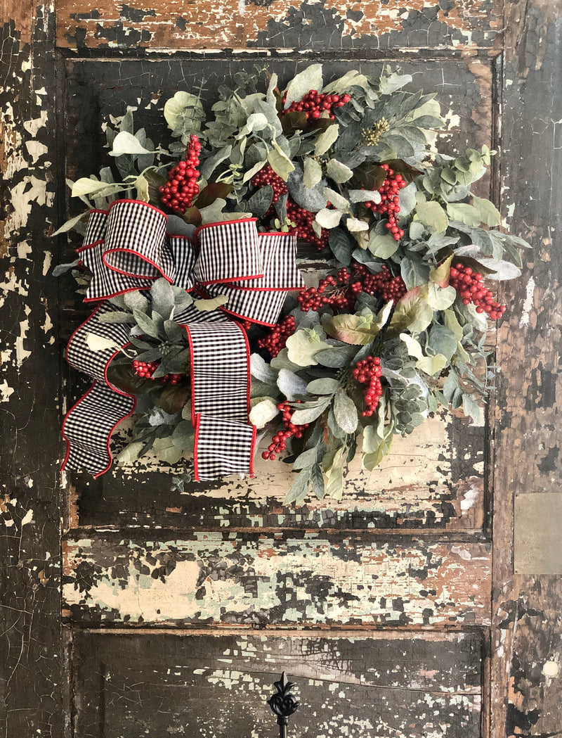 The Alyssa Eucalyptus & Berry Winter Wreath For Front Door~Valentines wreath~Year round wreath~Farmhouse wreath for door, home decor