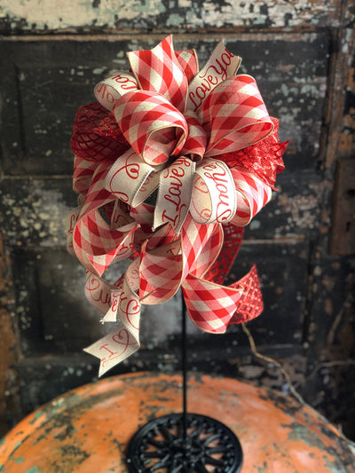 The Lorna Red Tan & Pink Valentines Day Bow, Bow for wreaths, Lantern Bow, Valentines decor, Mailbox Bow, sweetheart bow, I love you bow