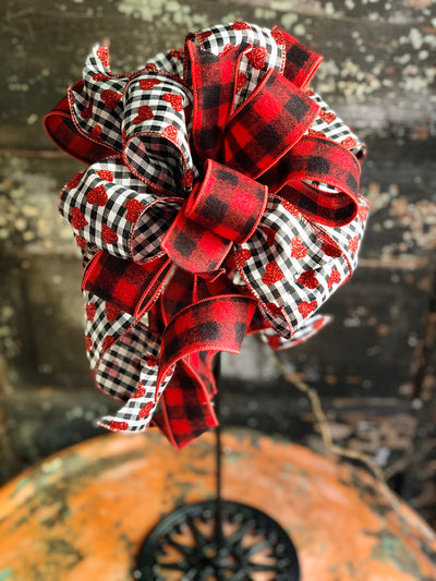 The Kaya Red White & Black Buffalo Check Valentines Day Bow, Bow for wreaths, Lantern Bow, Valentines decor, Mailbox Bow, sweetheart bow