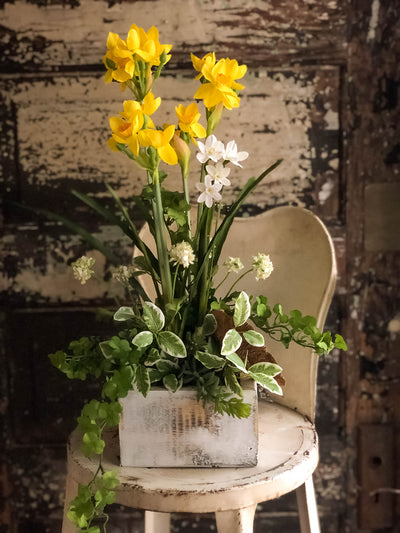 The Belinda Yellow Spring Daffodil Centerpiece for Table, Easter arrangement, Paperwhite Narcissus & daffodil bulb arrangement