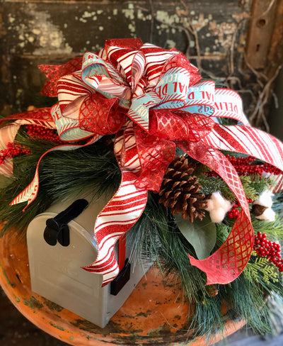 The Catherine Red & White Christmas Mailbox Swag~Pine mantle piece~Winter Swag for mantle~Long Flat pine centerpiece for table,holiday decor
