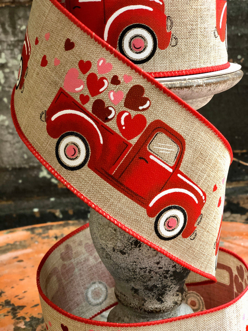"Valentine Truck with Hearts Wired Ribbon 2.5"" x 10 YARD ROLL, Loads Of Love Valentines Ribbon, farmhouse ribbon"