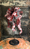 The Diana Red, Black & White Buffalo Check Valentines Day Bow, bow for wreaths, lantern bow, valentine decor, sweetheart bow