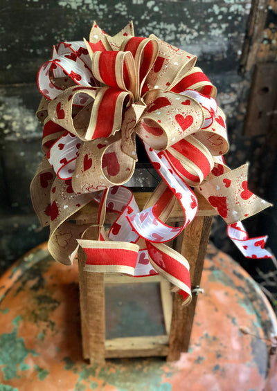The Stephanie Red White & Beige Valentines Day Bow, sweetheart bow, bow for wreaths, lantern bow, valentines decor