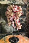 The Lena Red  White & Beige Valentines Day Bow, Valentine decor, sweetheart bow, bow for wreath, lantern bow