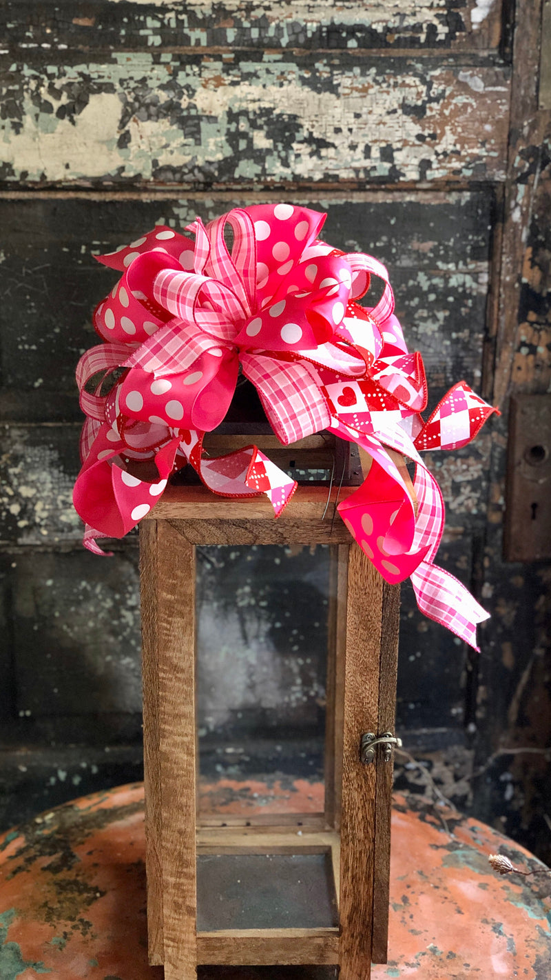 Monique Pink & White Plaid Valentines Bow, Polka dot bow, valentine decor, sweetheart bow, bow for wreaths