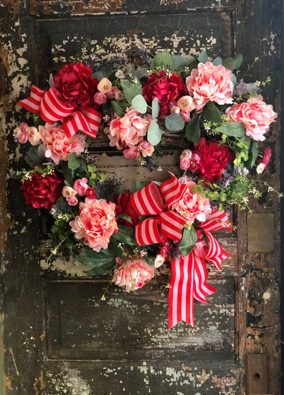The Cupid Pink & White Valentines Heart Wreath, wreath for front door, Valentines decor, Victorian floral peony wreath