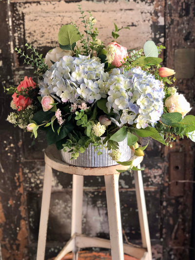 The Camilla Blue Pink & Cream Spring Farmhouse Centerpiece For Dining Table, wedding centerpiece, easter arrangement, Garden centerpiece