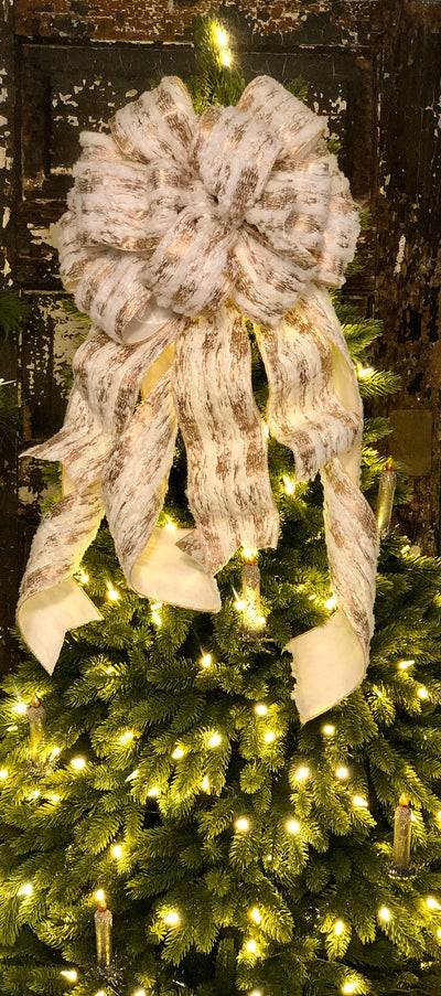 The Audrey White & Gold Christmas Tree Topper Bow~Fur bow for wreaths, Elegant holiday bow, Lodge style bow, Winter bow, christmas decor