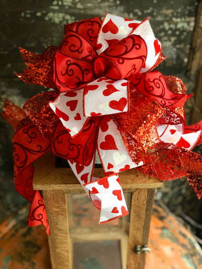 The Juliette Red & White Valentines Day Bow, Bow for wreaths, Lantern Bow, Valentines decor, Mailbox Bow, heart bow, red white glitter bow