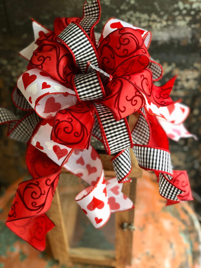 The Blythe Red White & Black Buffalo Check Valentines Day Bow, Bow for wreaths, Lantern Bow, Valentines decor, Mailbox Bow, heart bow
